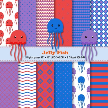 Jelly Fish Digital Paper + Clipart
