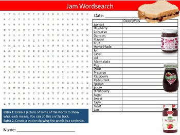 Jelly Jam Wordsearch Sheet Starter Activity Keywords Cover Food Nutrition