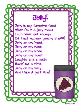 Jelly on My Head Poem and Class Book