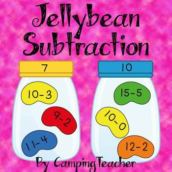 Jellybean Subtraction Math Center for Easter and Spring