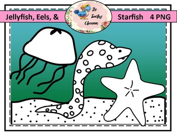 Jellyfish, Eels, and Starfish Clip Art (Commercial Use)