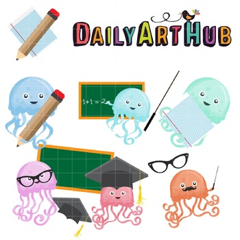 Jellyfish School Clip Art - Great for Art Class Projects!