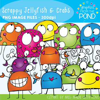 Jellyfish and Crabs Clipart Set
