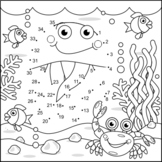 Jellyfish and Underwater Life Connect the Dots and Coloring Page
