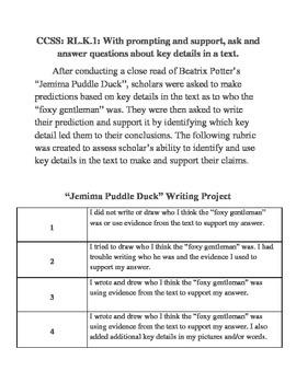 Jemima Puddle Duck Close Read