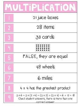 Jenga Answer Key - 3rd Grade