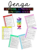 Jenga Expressions, Equations, and Patterns Review Game