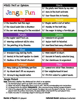 Jenga Game Board: Fact or Opinion