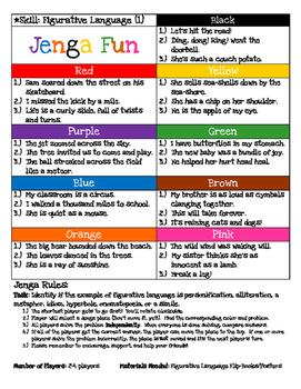 Jenga Game Board: Figurative Language (#1)