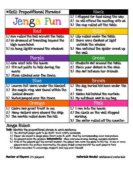 Jenga Game Board: Prepositional Phrases