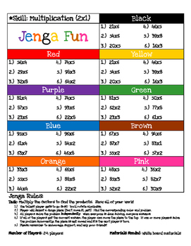 Jenga Game Boards: Multiplication (2 digit x 1 digit)