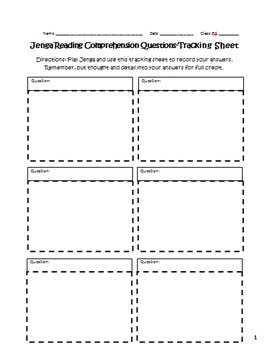 Reading Comprehension Jenga Activity for History