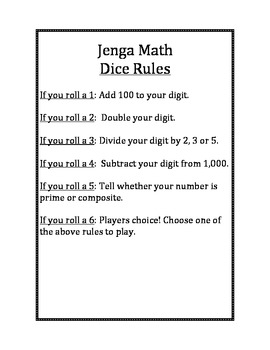 Jenga Math Center