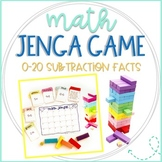 Math Jenga Game Cards for 0-20 Subtraction Fact Fluency