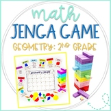 Math Jenga Game Cards for 2nd Grade Geometry and Plane and 3D Solid Shapes