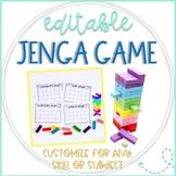 Jenga Math Game Cards: Editable