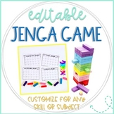 Jenga Math Game Cards: Editable
