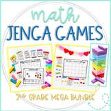 Jenga Math Game Cards Growing Bundle: Second Grade Math Practice and Review