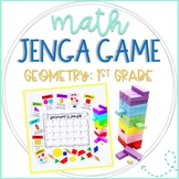 Math Jenga Game Cards for 1st Grade Geometry and Plane and Solid 3D Shapes