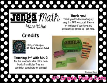 Jenga Math- Place Value - Grade 4