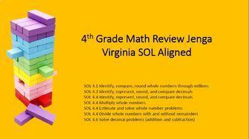 Math Jenga: Add/ Subtract, Multiplication, Division, Decimals SOL Aligned