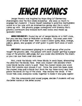 Jenga Phonics: Consonants and Vowels