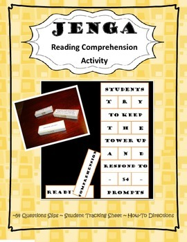 Jenga Reading Comprehension Activity for LA and All Classes 4-12
