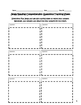 Reading Comprehension Jenga Activity