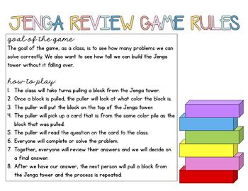 Jenga Review Game: Editable