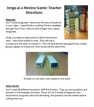 Jenga: Review Game for German