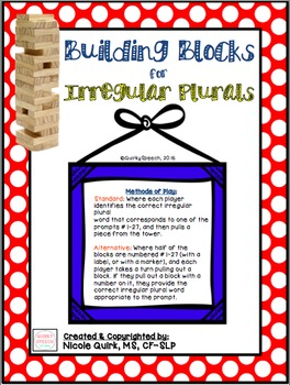 Building Blocks for Irregular Plurals!