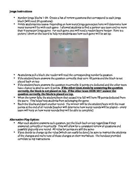Jenga test review template