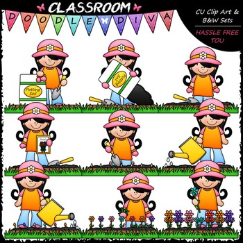 Jenna Grows Flowers Clip Art - Sequence Clip Art & B&W Set