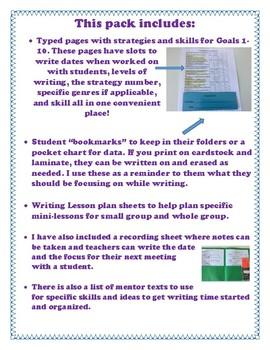 Jennifer Serravallo Writing Strategies Book Organization Kit