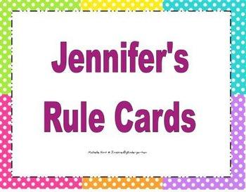 Jennifer's Rule Cards