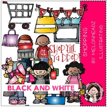 Shopping clip art - BLACK AND WHITE- by Melonheadz