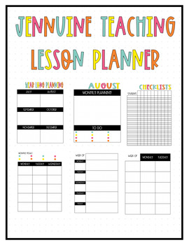 Jennuine Teacher Lesson Planner {EDITABLE and LIFETIME UPDATES}