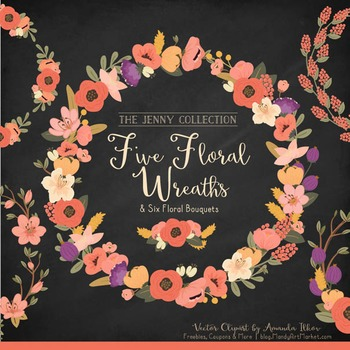 Jenny Floral Wreaths & Bouquets in Antique Peach