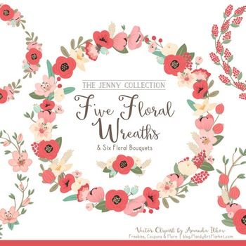 Jenny Floral Wreaths & Bouquets in Mint & Coral