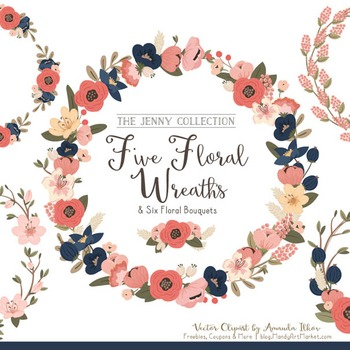 Jenny Floral Wreaths & Bouquets in Navy & Blush