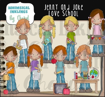 Jenny and Jake Love School Clipart Collection