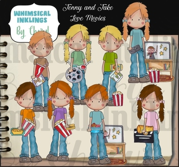 Jenny and Jake Love the Movies Clipart Collection