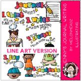 Journal Writing clip art - LINE ART- by Melonheadz