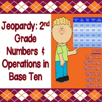 Jeopardy Game: 2nd Grade Numbers & Operations - CCSS & PARCC Aligned!