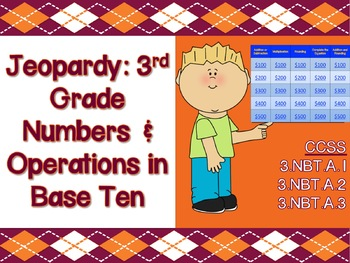 Jeopardy Game: 3rd Grade Numbers and Operation - CCSS & PARCC Aligned!