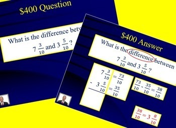 Jeopardy 4th Grade Common Core / FSA Fraction Review