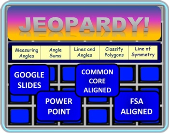 Jeopardy 4th Grade Common Core Geometry (GEO) and Angles
