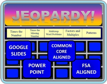 Jeopardy 4th Grade Common Core Operations and Algebraic Th