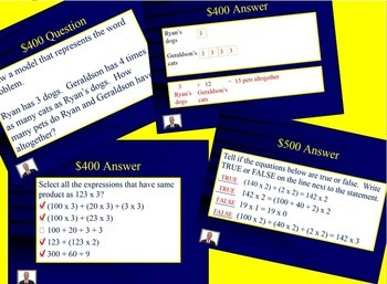 Jeopardy 4th Gr Multiplication (Comparative Relational Thinking & Multi-step WP)