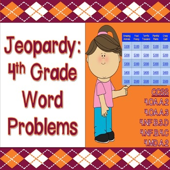 Jeopardy: 4th Grade Word Problems (Game 1) - CCSS & PARCC Aligned!